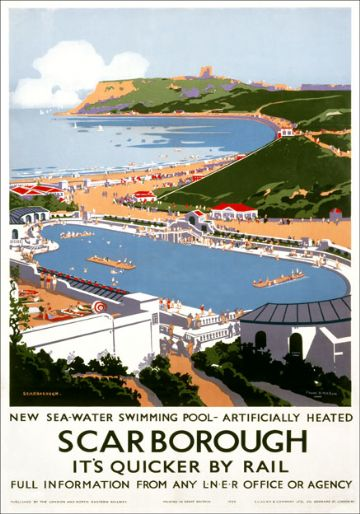 Scarborough, Swimming Pool, Yorkshire. LNER Vintage Travel Poster by Frank H Mason. 1939